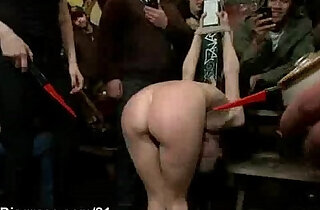 Tied up babe cattle proded and gangbang fucked in public - 5:55