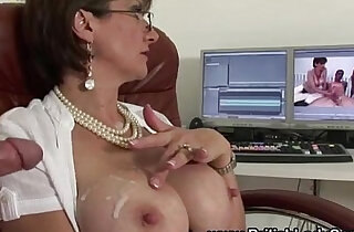Sexy stockinged handjob slut - 5:37