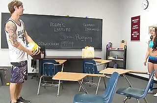 InnocentHigh Perky tits tattooed volleyball athlete classroom fucked - 12:35