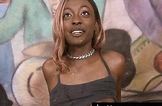 Pretty ebony Zo Lala puke fest while throating dicks at ghetto gaggers - 11:21