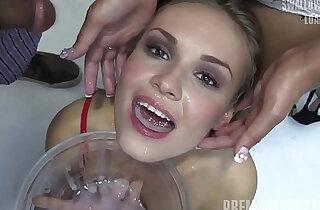 Premium Bukkake Angela swallows huge mouthful cumshots - 11:00