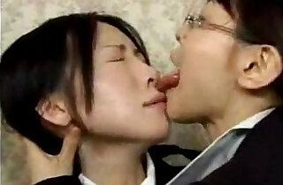 Asian Lesbian Wild Tongue Kiss - 6:23