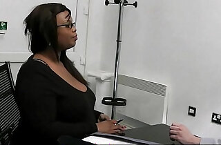 Ebony fatty pleases her future boss - 6:40