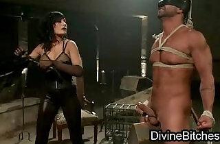 Bustymistress fucks tied up gagged guy - 6:00