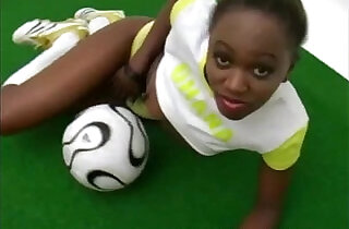 Beautiful African football babe doing a striptease - 3:29
