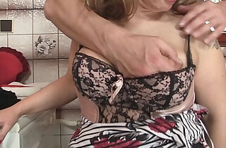 Hot mommy in stockings rides his big dick - 7:52