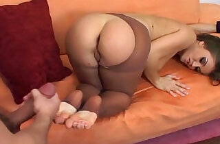 Fucking and footjob on a couch in nude pantyhose - 12:04