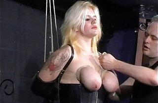 Busty blonde Cherrys breast bondage and amateur bdsm of tit tortured submissive - 10:28