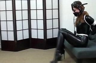 Pretty brunette tied forced latex gagged with boots bondage bdsm - 6:19