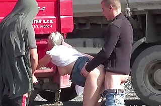 Young blonde pretty girls PUBLIC threesome at a construction site - 16:37