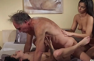 Old Young Teens share old man and ride his wrinkled cock swallow cum - 7:27