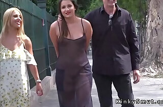 Hot slave in see through dress in public - 5:28
