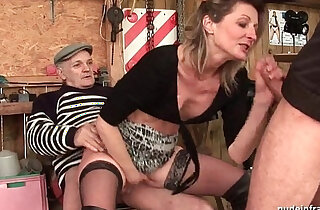 Skinny gets deep anal fucked in threesome sex with Papy Voyeur outdoor - 32:16