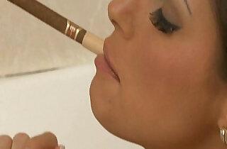 Smoking Sluts Sarah Twain in fishnet catsuit enjoy two dicks. - 20:36