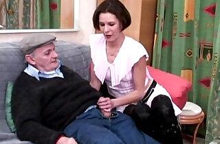 horny voyeur Papy fucks nymph in threesome - 8:40