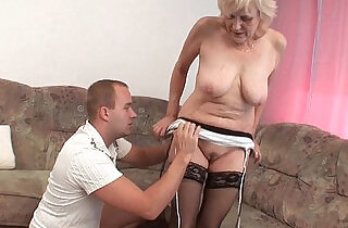 Grandma in stockings gets facial - 5:53