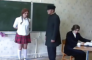 Redhead russian schoolgirls gets whipped by the teacher. - 22:54