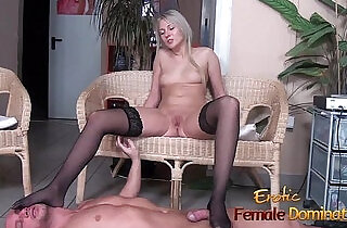 Stockinged footjob from a pantyless blonde - 20:30