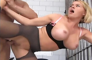 Officer footjob and fucking in ripped up nylons - 7:20