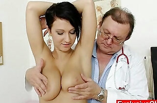 Big tits brunette Nicoletta vagina exam by doctor - 5:50